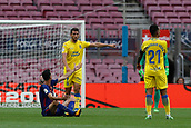 1st October 2017, Camp Nou, Barcelona, Spain; La Liga football, Barcelona versus Las Palmas; Sergi Roberto of FC Barcelona argues on the pitch after a foul  as the game is played behind closed doors due to the riots in Barcelona during the Catlaonio referendum