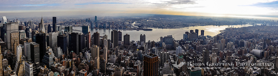 US, New York City. View from the Empire State Building observation deck. East River, Brooklyn and Queens. Stitched panorama.