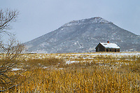 An old cabin near Greenland, Colorado sits under a fresh coating of snow as Rattlesnake Butte rises in the background.