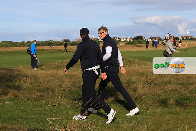 Thomas Sloman (GB&I) and Thomas Plumb (GB&I) on the 6th tee during Day 2 Foursomes of the Walker Cup, Royal Liverpool Golf CLub, Hoylake, Cheshire, England. 08/09/2019.<br /> Picture Thos Caffrey / Golffile.ie<br /> <br /> All photo usage must carry mandatory copyright credit (© Golffile | Thos Caffrey)