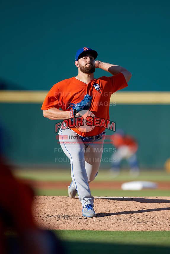 St. Lucie Mets starting pitcher Thomas Szapucki (30) during a Florida State League game against the Bradenton Barbanegras on July 27, 2019 at LECOM Park in Bradenton, Florida.  Bradenton defeated St. Lucie 3-2.  (Mike Janes/Four Seam Images)