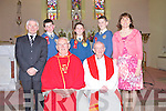 Loughfrouder students Richard O'Connor, Amy Browne and Christopher McCrohan who received their Confirmation last Monday afternoon in Knocknagoshal, pictured here with staff members Micheal Herlihy and Elizabeth Lane along with Fr Riordan and Canon Mangan.