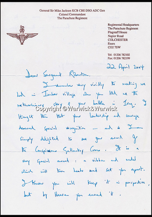 BNPS.co.uk (01202 558833)<br /> Pic: Warwick&Warwick/BNPS<br /> <br /> Letter of congratulations from General Sir Mike Jackson.<br /> <br /> An Iraq war hero is selling his £100,000 gallantry medal he won for a notorious battle so he can help get his son on the property ladder.<br /> <br /> Sergeant Gordon Robertson has proudly displayed the Conspicuous Gallantry Cross in his home since he was awarded it following the Battle of Majar al Kabir in which six British Royal Military policemen were killed in 2003.<br /> <br /> He has now decided to sell his decoration - one down from the Victoria Cross - because he wants to help buy his grown-up son his first house.