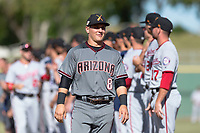 Salt River Rafters catcher Daulton Varsho (8), of the Arizona Diamondbacks organization, during player introductions before the Arizona Fall League Championship game against the Peoria Javelinas at Scottsdale Stadium on November 17, 2018 in Scottsdale, Arizona. Peoria defeated Salt River 3-2 in extra innings. (Zachary Lucy/Four Seam Images)
