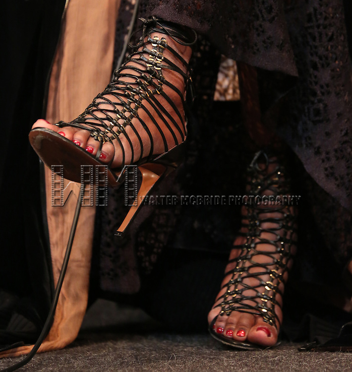 Grace Jones, shoe detail, appears in person after a screening of her film 'Grace Jones: Floodlight and Bami' directed by Sophie Fiennes at the Walter Reade Theatre on April 14, 2018 in New York City