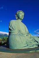 The Buddha statue at the Lahaina Jodo Mission with the West Maui Mountains as a backdrop. This is one of the largest bronze Buddhas outside of Japan.
