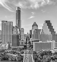 aerial black and white of Austin Texas.
