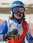 March 28, 2012:  Visually impaired skiier, Lindsay Ball following her first run in Super G competition at the U.S. Adaptive Alpine National Championships at the Racer's Edge course in Aspen, Colorado.