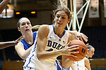 17 November 2012: Duke's Allison Vernerey (FRA) (43) and Presbyterian's Mariah Pietrowski (behind). The Duke University Blue Devils played the Presbyterian College Blue Hose at Cameron Indoor Stadium in Durham, North Carolina in an NCAA Division I Women's Basketball game. Duke won the game 84-45.