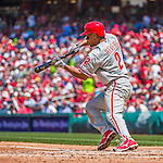 24 May 2015: Philadelphia Phillies outfielder Ben Revere lays down a bunt that goes foul in the 4th inning against the Washington Nationals at Nationals Park in Washington, DC. The Nationals defeated the Phillies 4-1 to take the rubber game of their 3-game weekend series. Mandatory Credit: Ed Wolfstein Photo *** RAW (NEF) Image File Available ***