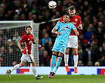 Bilal Basacikoglu of Feyenoord challenges Luke Shaw of Manchester United during the UEFA Europa League match at Old Trafford, Manchester. Picture date: November 24th 2016. Pic Matt McNulty/Sportimage