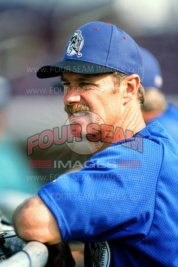 San Bernardino Stampede Manager Rick Burleson during a California League baseball game at The Ranch circa 1999 in San Bernardino,CA. (Larry Goren/Four Seam Images)