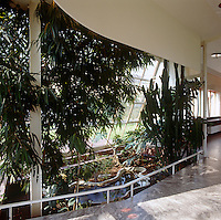 A wall in the winter garden consisting entirely of glass panes is designed to incline at a gentle angle inwards creating an environment of warmth and light where tropical plants flourish