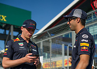 MAX VERSTAPPEN (NED) of Aston Martin Red Bull Racing TAG Heuer and DANIEL RICCIARDO (AUS) of Aston Martin Red Bull Racing TAG Heuer during The Formula 1 2018 Rolex British Grand Prix at Silverstone Circuit, Northampton, England on 8 July 2018. Photo by Vince  Mignott.