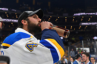 June 12, 2019: St. Louis Blues defenseman Robert Bortuzzo (41) takes a drink at game 7 of the NHL Stanley Cup Finals between the St Louis Blues and the Boston Bruins held at TD Garden, in Boston, Mass.  The Saint Louis Blues defeat the Boston Bruins 4-1 in game 7 to win the 2019 Stanley Cup Championship.  Eric Canha/CSM.