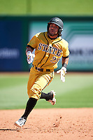 Alabama State Hornets Edgardo Rivera (29) running the bases during a game against the Maryland Terrapins on February 19, 2017 at Spectrum Field in Clearwater, Florida.  Maryland defeated Alabama State 9-7.  (Mike Janes/Four Seam Images)