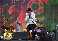 Beck Hansen (Beck) plays harmonica during British Summertime Music Festival at Hyde Park, London, England on 18 June 2015. Photo by Andy Rowland.