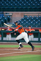AZL Giants Heliot Ramos (31) follows through on his swing against the AZL Brewers on August 15, 2017 at Scottsdale Stadium in Scottsdale, Arizona. AZL Giants defeated the AZL Brewers 4-3. (Zachary Lucy/Four Seam Images)
