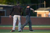 Base umpire Tom Hanahan ejects Frederick Keys manager Ryan Minor (12) during the game against the Buies Creek Astros at Jim Perry Stadium on April 28, 2018 in Buies Creek, North Carolina. The Astros defeated the Keys 9-4.  (Brian Westerholt/Four Seam Images)