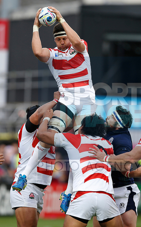 Luke Thompson of Japan wins a line out - Rugby World Cup 2015 - Pool B - Scotland vs Japan - Kingsholm Stadium - Gloucester - England - 23rd September 2015 - Picture Simon Bellis/Sportimage