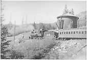 Locomotive #25 with coaches 252 and B-20 stopping at Trout Lake tank.<br /> RGS  Trout Lake, CO  Taken by Barriger, John W. III - 7/1938