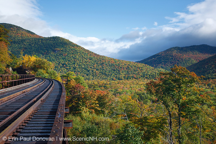 Frankenstein Trestle along the old Maine Central Railroad in Crawford Notch of the New Hampshire White Mountains during the autumn months. Since 1995 the Conway Scenic Railroad, which provides passenger excursion trains has been using the track.