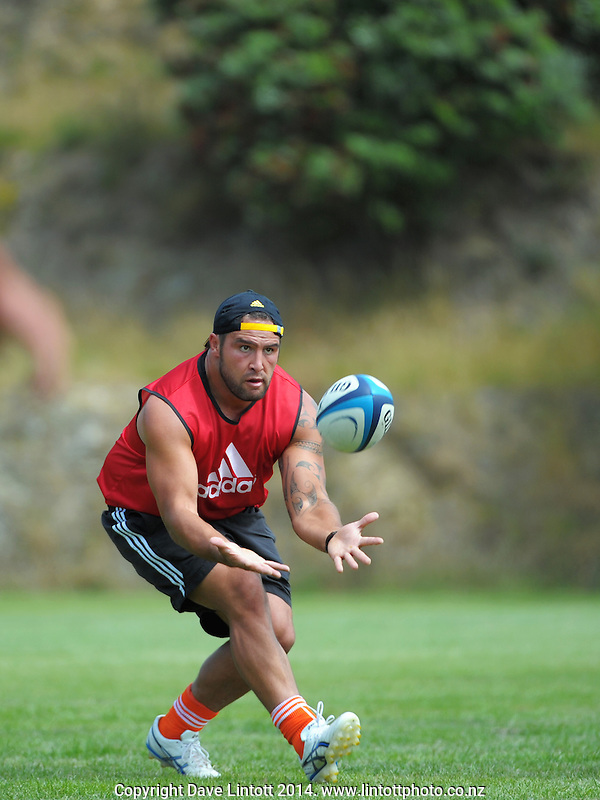 Joe Royal in action during the Hurricanes Super rugby training at Martin Luckie Park, Wellington, New Zealand on Thursday, 9 January 2014. Photo: Dave Lintott / lintottphoto.co.nz