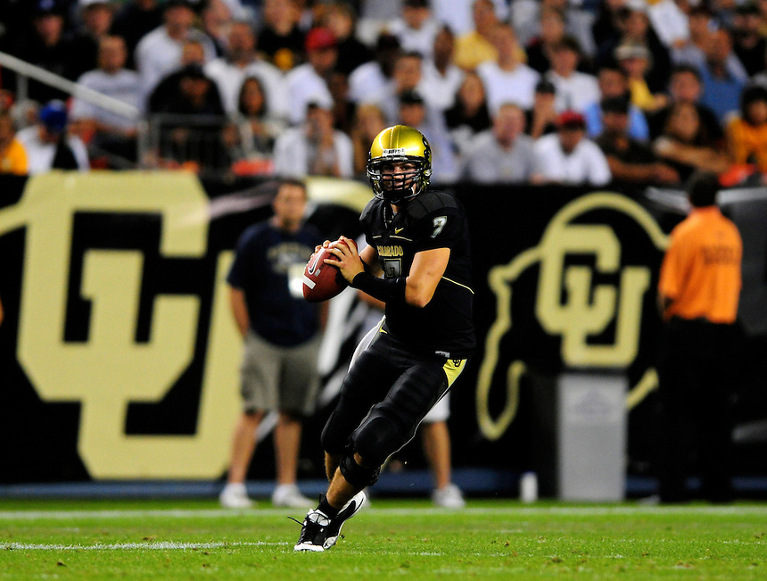31 Aug 2008: The Colorado Buffaloes defeated the Colorado State Rams 38-17 at Invesco Field at Mile High in Denver, Colorado. FOR EDITORIAL USE ONLY