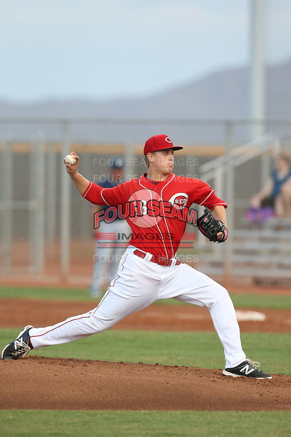 Mark Armstrong #16 of the AZL Reds pitches against the AZL Brewers at the Cincinnati Reds Spring Training Complex on July 5, 2014 in Goodyear Arizona. AZL Reds defeated the AZL Brewers, 7-2. (Larry Goren/Four Seam Images)