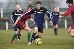 EEjob 04/03/2015 Sport<br /> Colaiste Stiffen Naofa Jamie Stack &amp; NUI Galway Shane O'Rourke in Action during there the CUFL Final in Limerick.<br /> Picture  Credit Brian Gavin Press 22