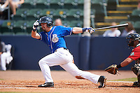 Biloxi Shuckers outfielder Nathan Orf (4) at bat during a game against the Birmingham Barons on May 24, 2015 at Joe Davis Stadium in Huntsville, Alabama.  Birmingham defeated Biloxi 6-4 as the Shuckers are playing all games on the road, or neutral sites like their former home in Huntsville, until the teams new stadium is completed in early June.  (Mike Janes/Four Seam Images)