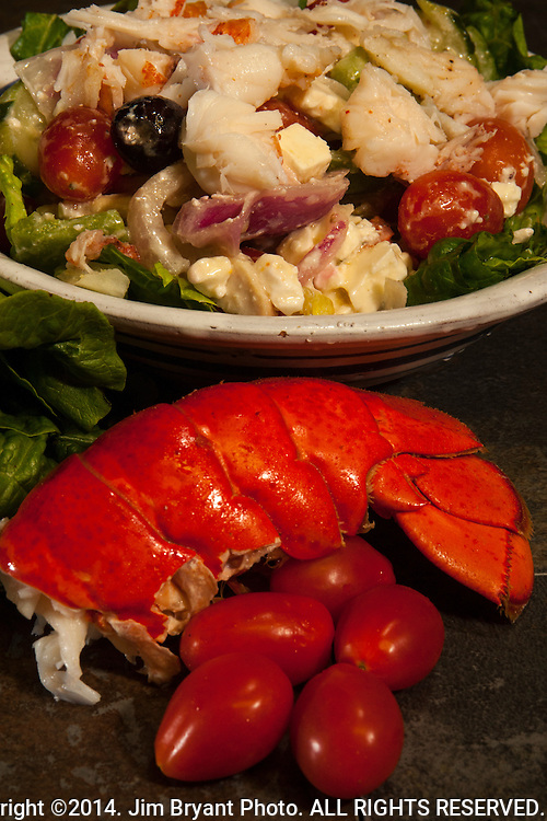 Steamed Lobster tail with Greek Salad. ©2014. Jim Bryant Photo. ALL RIGHTS RESERVED.