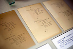 Photo shows manuscripts of Lafcadio Hearn's Songs of Meiji Era on display at the Lafcadio Hearn museum in Matsue, Shimane Prefecture, Japan on 05 Nov. 2012. Photographer: Robert Gilhooly.
