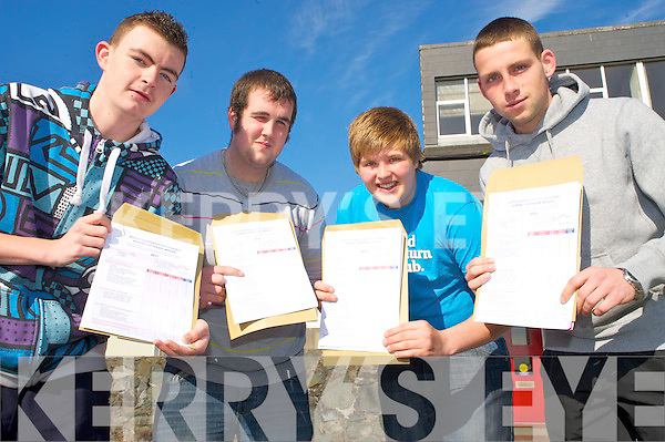 Happy with their leaving cert results in Killarney Community College on Wednesday were Gary Bartlett, Shane Hurley, Thomas Buckle and Daniel Radzinski.