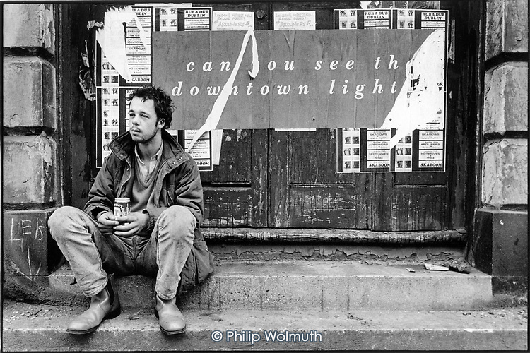 24 year old man who had slept rough in the King's Cross area since he left home at the age of 14.  Pancras Road, 1989.