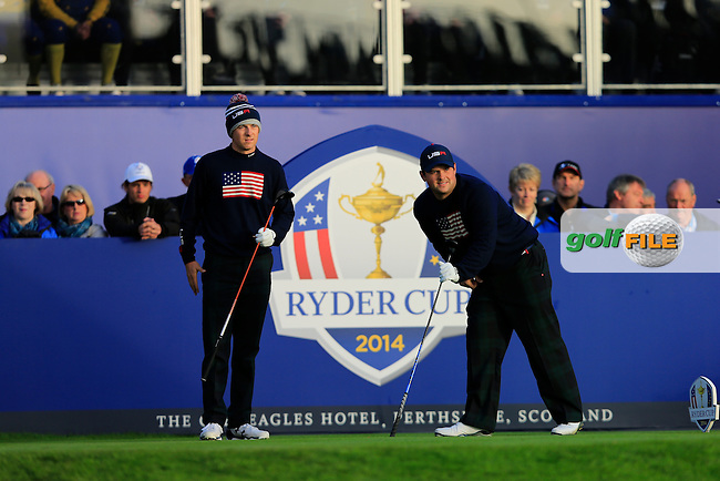 Jordan Speith (USA) & Patrick Reed (USA) on the 1st tee during the Saturday Fourball Matches of the Ryder Cup at Gleneagles Golf Club on Saturday 27th September 2014.<br /> Picture:  Thos Caffrey / www.golffile.ie
