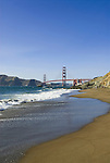 San Francisco: Baker Beach with Golden Gate Bridge in background.  Photo # 2-casanf83759.  Photo copyright Lee Foster