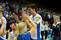 GRONINGEN - Volleybal , Lycurgus - Orion, finale playoff 5, seizoen 2018-2019, 12-5-2019,  Lycurgus speler Wytze Kooistra na zijn laarsje wedstrijd