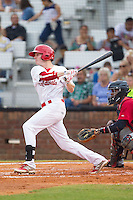 Blake Drake (40) of the Johnson City Cardinals follows through on his swing against the Elizabethton Twins at Cardinal Park on July 27, 2014 in Johnson City, Tennessee.  The game was suspended in the top of the 5th inning with the Twins leading the Cardinals 7-6.  (Brian Westerholt/Four Seam Images)