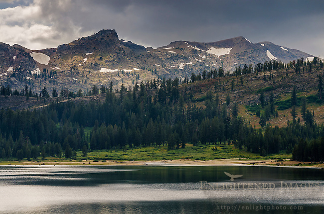 Storm clouds over mountains of the Sierra Nevada above Upper Blue Lake, Alpine County, California