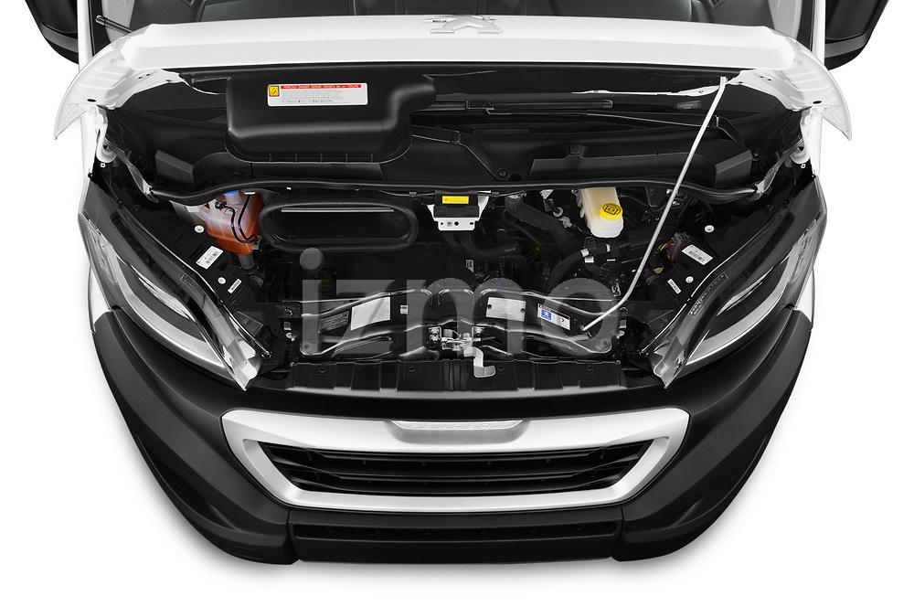 Car Stock 2019 Peugeot Boxer - 2 Door Parcel Van Engine  high angle detail view