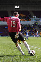 Alan Manus clears in the Motherwell v St Johnstone Clydesdale Bank Scottish Premier League match played at Fir Park, Motherwell on 28.4.12.
