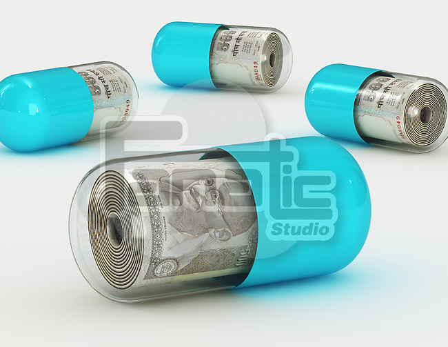 Illustrative image of money in pills representing medical cost
