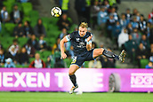 3rd November 2017, Melbourne Rectangular Stadium, Melbourne, Australia; A-League football, Melbourne City FC versus Sydney FC; Jordy Buijs of Sydney FC jumps towards the ball