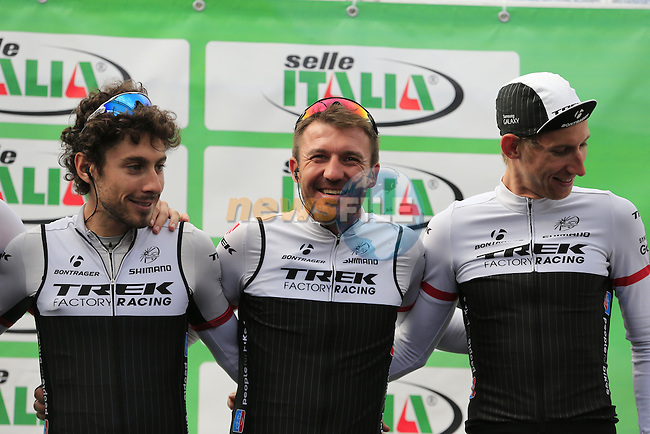 Yaroslav Popovych (UKR) Trek Factory Racing at sign on for the start of the last classic of the season Il Lombardia 2015 running 245km from Bergamo to Como, Italy. 4th October 2015.<br /> Picture: Eoin Clarke | Newsfile