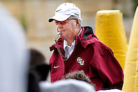 TALLAHASSEE, FL. 8/27/09-FSU-BOWDEN 0827 CH03-Florida State Head Coach Bobby Bowden, left, gets his team's attention during practice Thursday in Tallahassee...COLIN HACKLEY PHOTO
