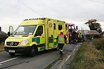 A Head on Collision between two lorries on the Link road between the M1 at Dunleer and the N2  Collon to Slane Road. Ambulances ferried the drivers from the scene to Our Lady of Lourdes Hospital in Drogheda. One unit of the Drogheda fire service and the Two units of the Louth Fire service from Dunleer were dispatached to the scene and had to use cutting equipment to remove one of the drivers.. Photo: Newsfile/Fran Caffrey.