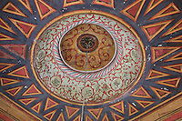 Carved and painted wooden ceiling of the Prayer Hall of the King Mosque or Xhamia Mbret, 15th century, in Berat, South-Central Albania, capital of the District of Berat and the County of Berat. Also known as the Mosque of Sultan Bayazit, it was renovated 1823-33. The mosque is part of a social religious complex, with the Tekkes, the library, and guest rooms of the dervishes. Picture by Manuel Cohen