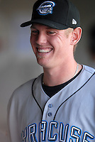 RHP Stephen Strasburg of the Syracuse Chiefs is all smiles in the dugout prior to the game vs. the Pawtucket Red Sox at McCoy Stadium in Pawtucket, RI on May 16, 2010.  . (Photo by Ken Babbitt/Four Seam Images)
