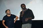 """Avant-première du film """"Samba"""" en présence des réalisateurs Eric Tolédano et Olivier Nakache ainsi que des acteurs Omar Sy et Tahar Rahim à l'UGC de Bruxelles, Belgique le 30 septembre 2014"""